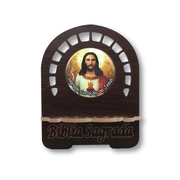 PB810032 - Porta Bíblia Sagrado Coração de Jesus MDF Resinado - 22x17,5cm