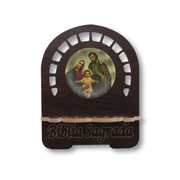 PB810800 - Porta Bíblia Sagrada Família MDF Resinado - 22x17,5cm