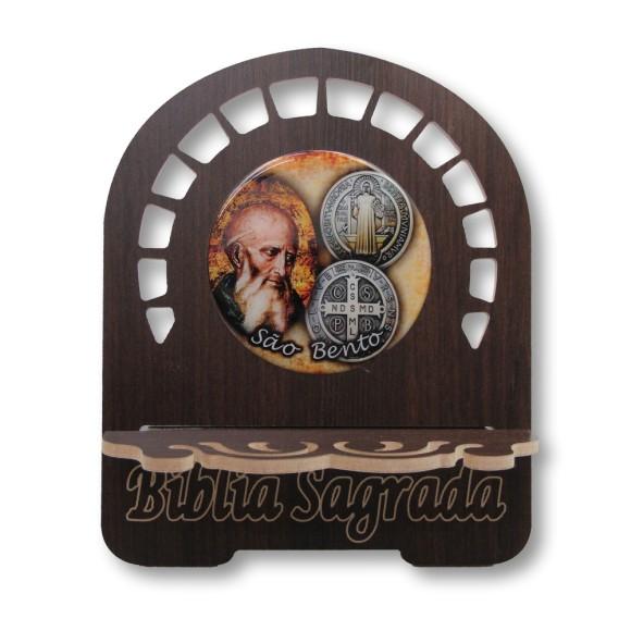 PB810130 - Porta Bíblia São Bento MDF Resinado - 26x21,5cm