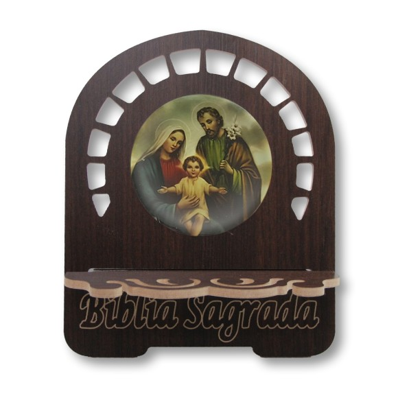 PB810160 - Porta Bíblia Sagrada Família MDF Resinado - 26x21,5cm