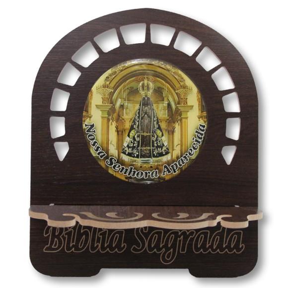 PB812001 - Porta Bíblia N. Sra. Aparecida MDF Resinado - 30,5x25,5cm