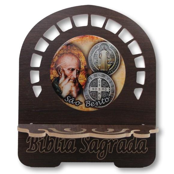PB812500 - Porta Bíblia São Bento MDF Resinado - 30,5x25,5cm