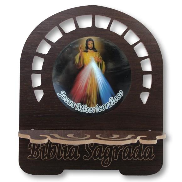 PB812510 - Porta Bíblia Jesus Misericordioso MDF Resinado - 30,5x25,5cm