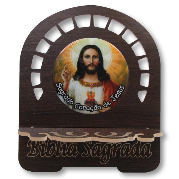 PB810232 - Porta Bíblia Sagrado Coração de Jesus MDF Resinado - 30,5x25,5cm