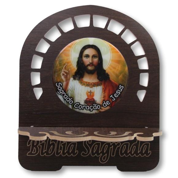 PB812520 - Porta Bíblia Sagrado Coração de Jesus MDF Resinado - 30,5x25,5cm