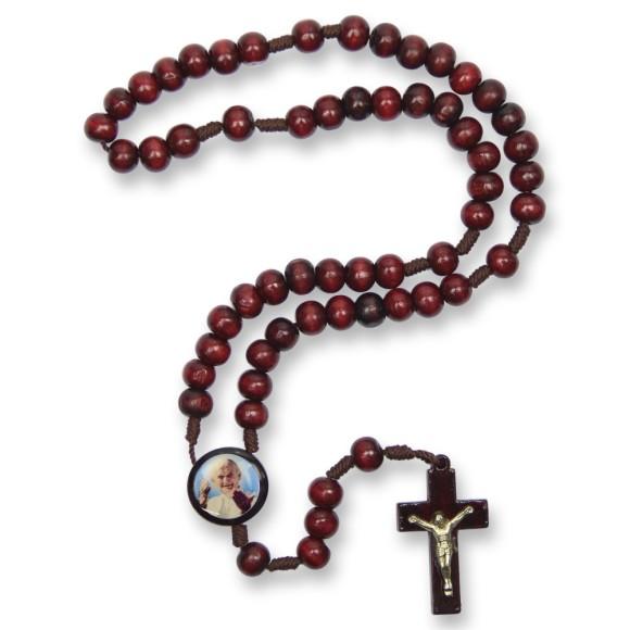 TE940407 - Terço Madeira  Papa João Paulo II - 37cm