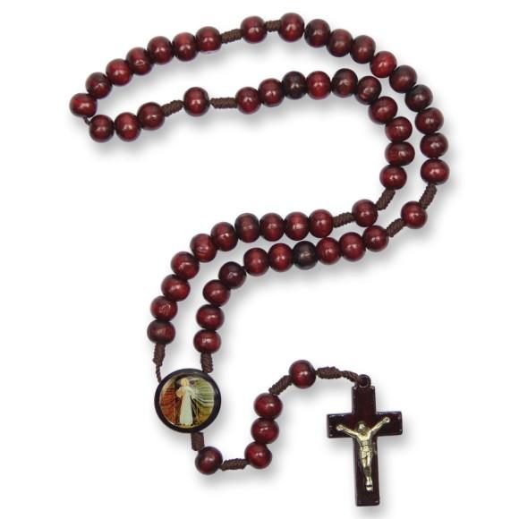 TE940425 - Terço Madeira Jesus Misericordioso - 37cm