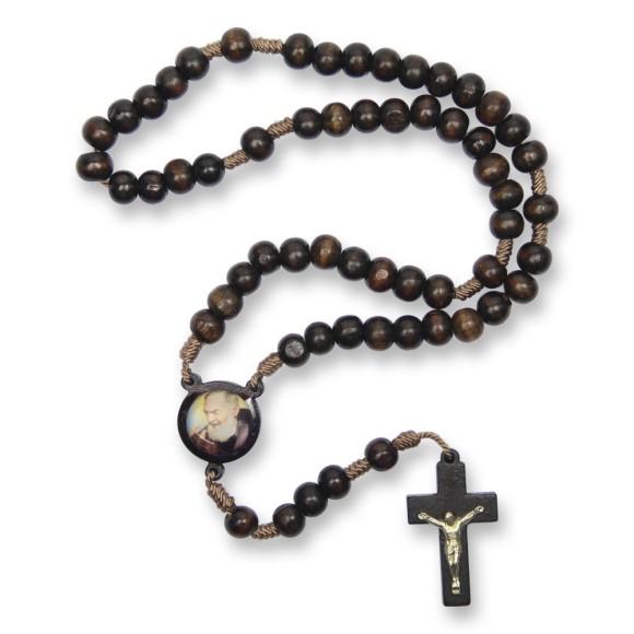 TE940426 - Terço Madeira São Padre Pio de Pietrelcina - 37cm