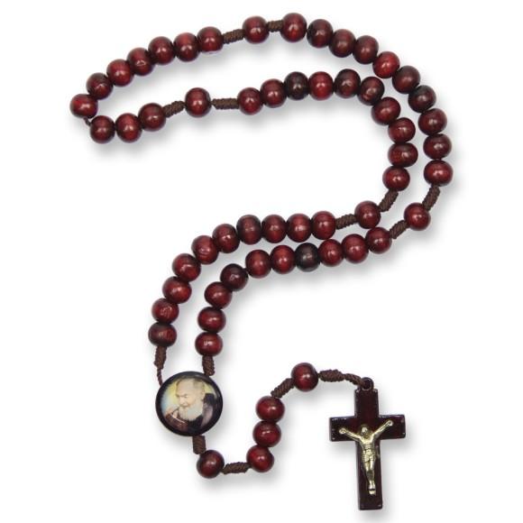 TE940427 - Terço São Padre Pio de Pietrelcina Madeira - 37cm