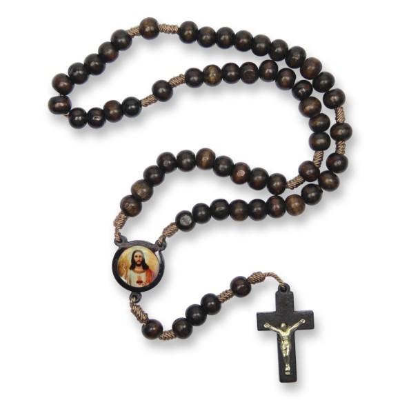 TE940430 - Terço Madeira Sagrado Coração de Jesus - 37cm