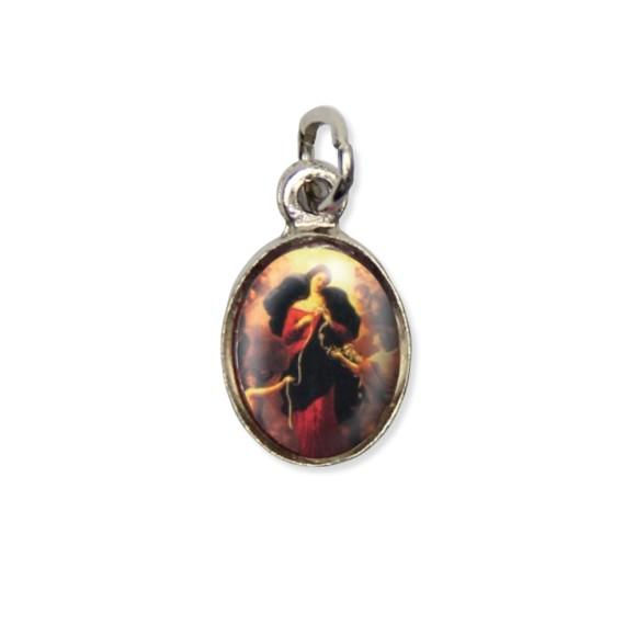 MD123017P10 - Medalha N. Sra. Desatadora dos Nós Pícula c/ Cruz Níquel c/ 10un. - 1,8x1cm