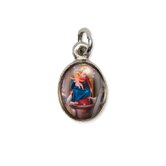 MD123023P10 - Medalha N. Sra. Do Rosário Pícula c/ Cruz Níquel c/ 10un. - 1,8x1cm