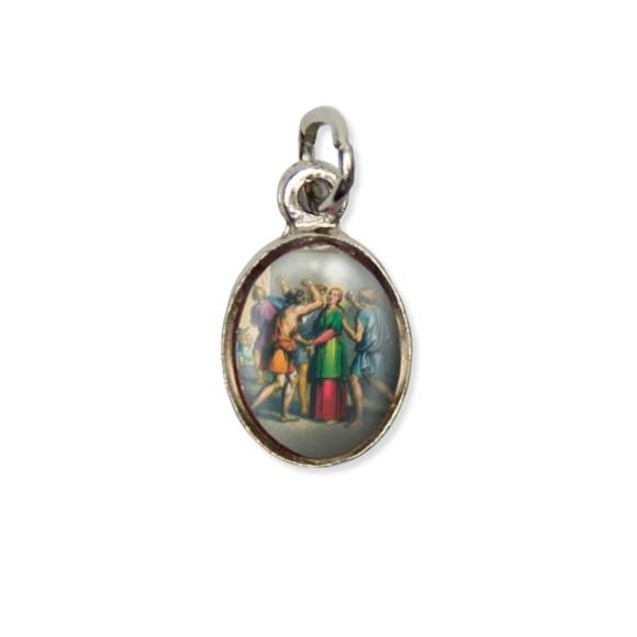 MD123029P10 - Medalha Santa Apolônia Pícula c/ Cruz Níquel c/ 10un. - 1,8x1cm
