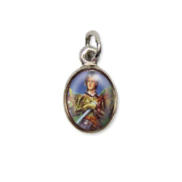 MD123038P10 - Medalha Santa Joana D'Arc Pícula c/ Cruz Níquel c/ 10un. - 1,5x1,8cm