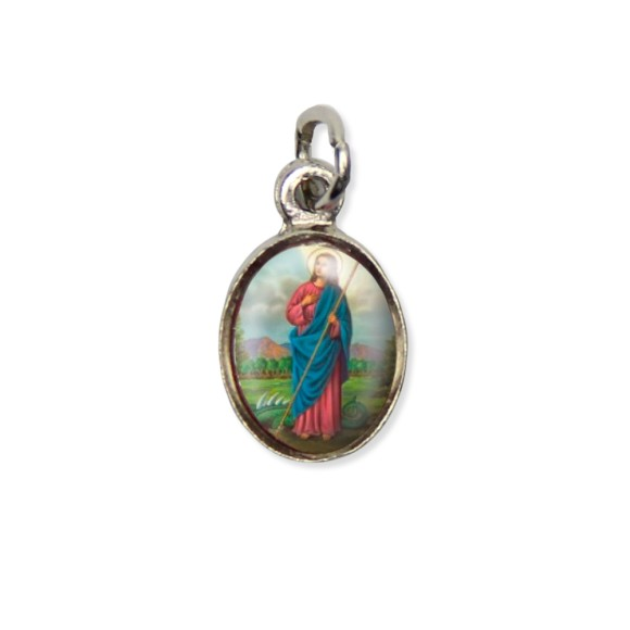 MD123042P10 - Medalha Santa Marta Pícula c/ Cruz Níquel c/ 10un. - 1,8x1cm