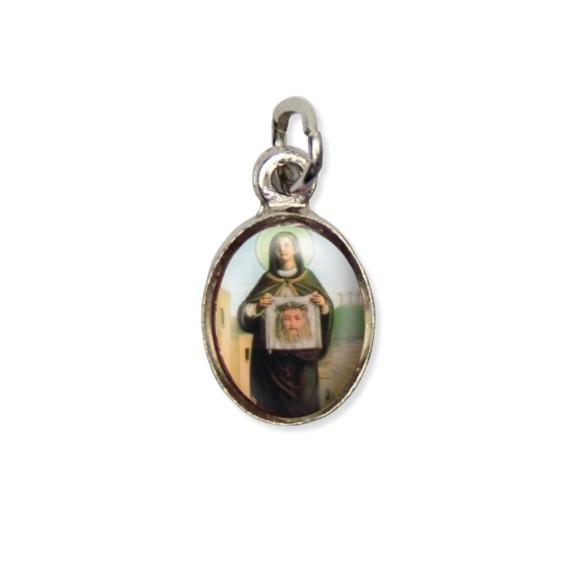 MD123048P10 - Medalha Santa Verônica Pícula c/ Cruz Níquel c/ 10un. - 1,8x1cm