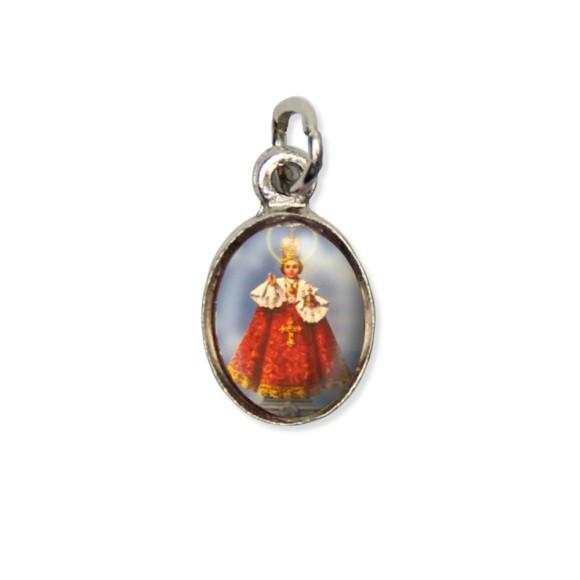 MD123403P10 - Medalha Jesus de Praga Pícula c/ Cruz Níquel c/ 10un. - 1,8x1cm
