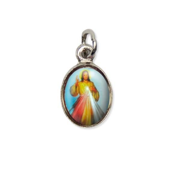 MD123404P10 - Medalha Jesus Misericordioso Pícula c/ Cruz Níquel c/ 10un. - 1,8x1cm