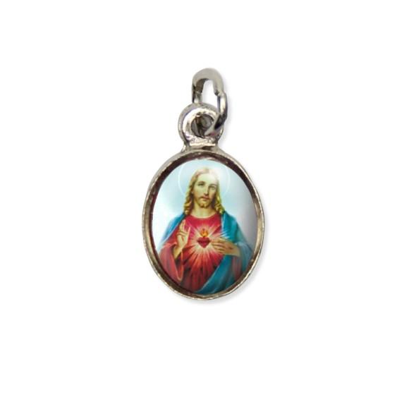 MD123409P10 - Medalha Sagrado Coração de Jesus Pícula c/ Cruz Níquel c/ 10un. - 1,8x1cm