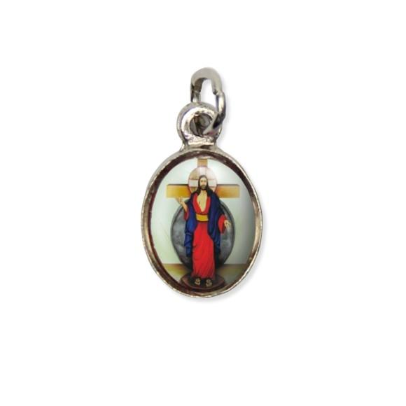 MD123410P10 - Medalha Santa Chagas de Jesus Pícula c/ Cruz Níquel c/ 10un. - 1,5x1,8cm