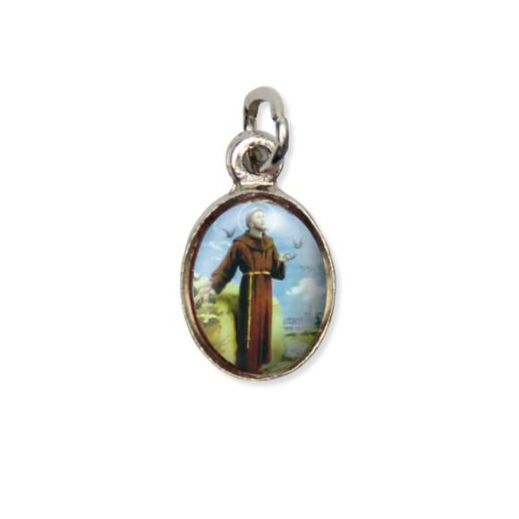 MD123422P10 - Medalha São Francisco de Assis Pícula c/ Cruz Níquel c/ 10un. - 1,8x1cm