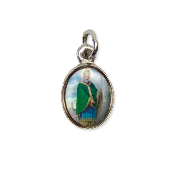 MD123431P10 - Medalha São Patricio Pícula c/ Cruz Níquel c/ 10un. - 1,5x1,8cm