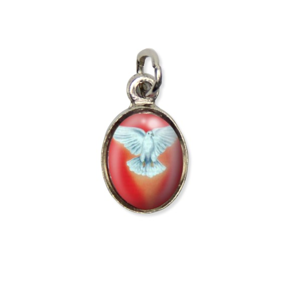 MD480001P10 - Medalha Divino Espírito Santo Pícula c/ Cruz Níquel c/ 10un. - 1,5x1,8cm