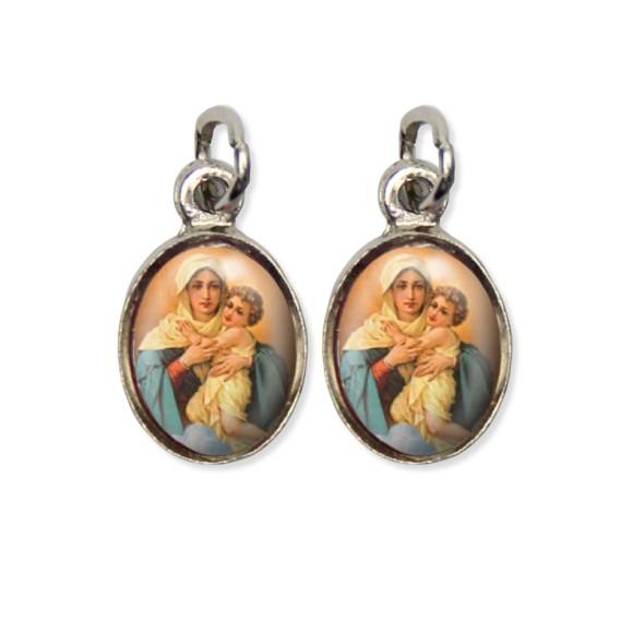 MD124003P5 - Medalha Mãe Rainha Pícula Dupla Níquel c/ 5un. - 1,5x1,8cm