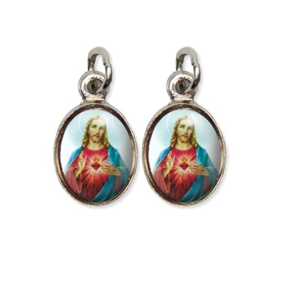 MD124401P5 - Medalha Sagrado Coração de Jesus Pícula Dupla Níquel c/ 5un. - 1,5x1,8cm