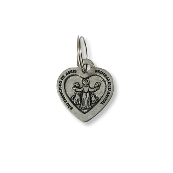 MD830401 - Medalha São Francisco de Assis Níquel (Proteja o seu Animal) - 3x2,6cm