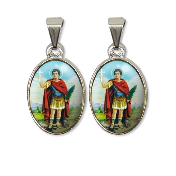 MD126402P2 - Medalha Santo Expedito PX Dupla Níquel c/ 2un. - 3X1,5cm