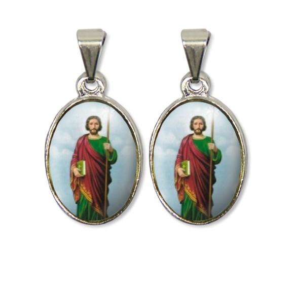 MD126409P2 - Medalha São Judas Tadeu PX Dupla Níquel c/ 2un. - 3X1,5cm