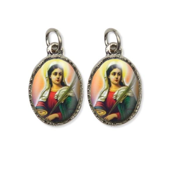 MD127013P5 - Medalha Santa Luzia Dupla Níquel c/ 5un. - 2,2x1,2cm