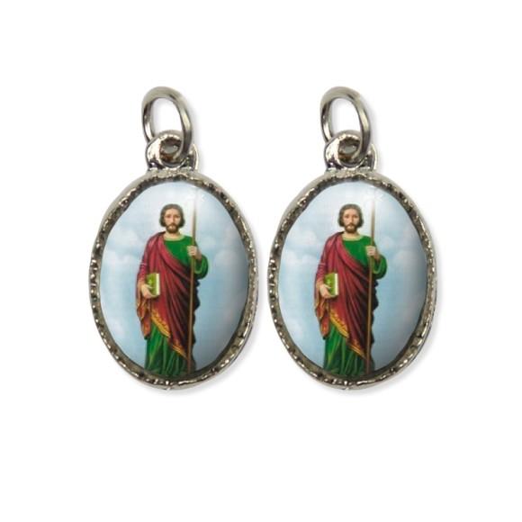 MD127407P5 - Medalha São Judas Tadeu Dupla Níquel c/ 5un. - 2,2x1,2cm