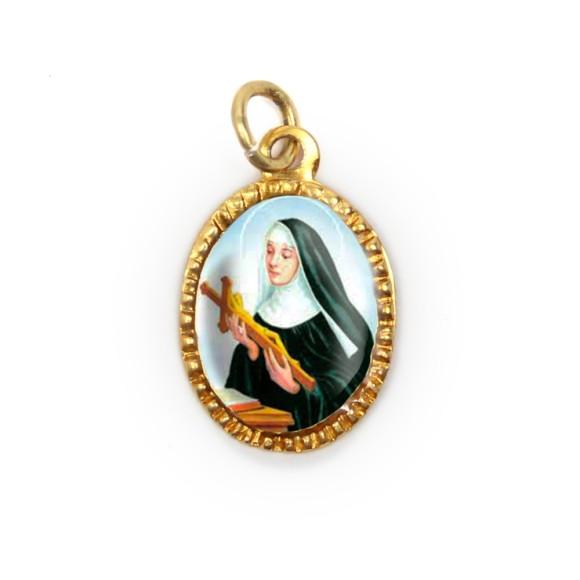 MD103108P10 - Medalha de Alumínio Oval Dourada c/ 10un. Santa Rita de Cássia - 2X1,3cm