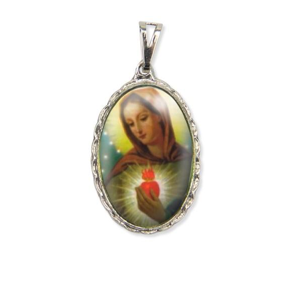 MD128002 - Medalha Chama do Amor Rendada Níquel - 5x2,5cm