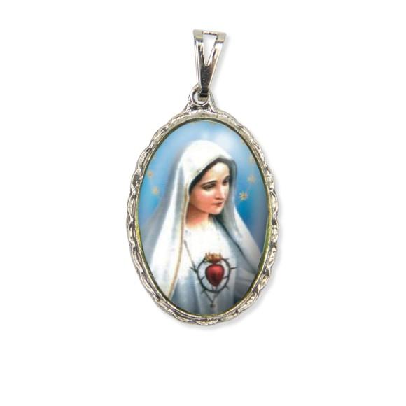 MD128003 - Medalha Imaculado Coração de Maria Rendada Níquel - 5x2,5cm
