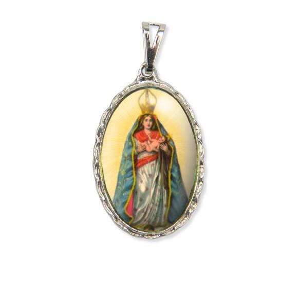 MD128006 - Medalha N. Sra. Abadia Rendada Níquel - 5x2,5cm