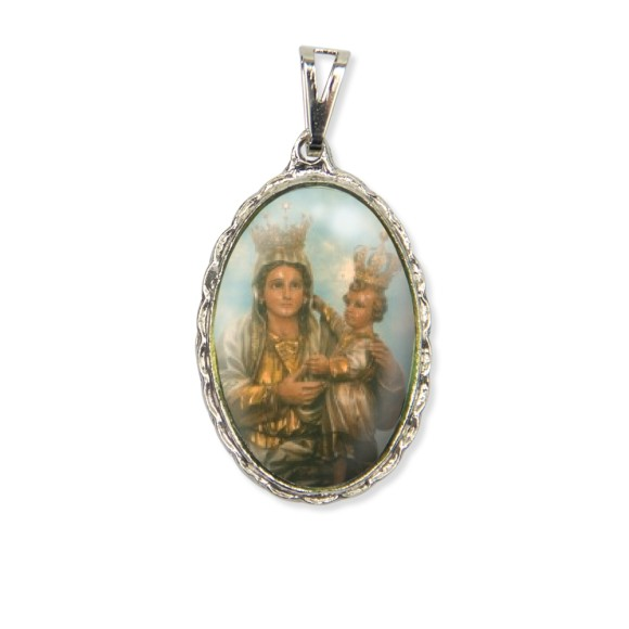 MD128007 - Medalha N. Sra. Achiropita Rendada Níquel - 5x2,5cm