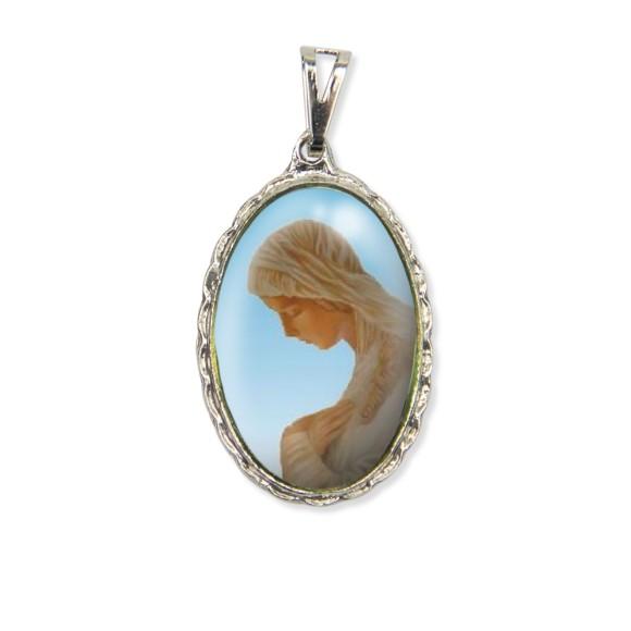 MD128010 - Medalha N. Sra. Da Anunciação Rendada Níquel - 5x2,5cm