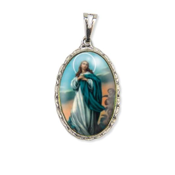 MD128013 - Medalha N. Sra. Da Conceição Rendada Níquel - 5x2,5cm