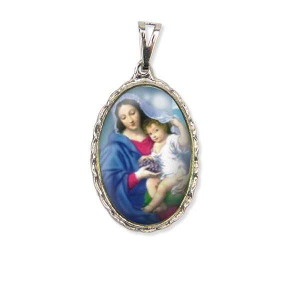 MD128014 - Medalha N. Sra. Da Divina Providência Rendada Níquel - 5x2,5cm