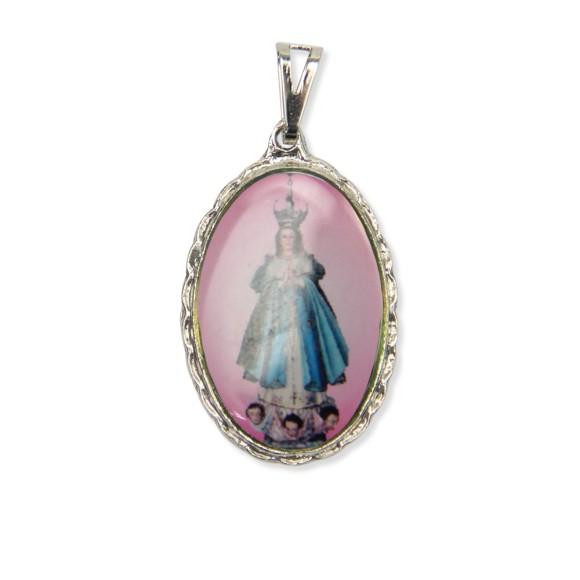 MD128016 - Medalha N. Sra. Da Lapa Rendada Níquel - 5x2,5cm