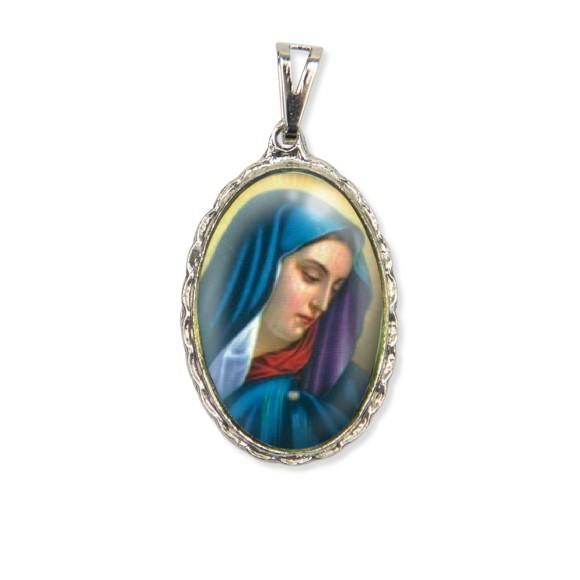 MD128021 - Medalha N. Sra. Das Dores Rendada Níquel - 5x2,5cm