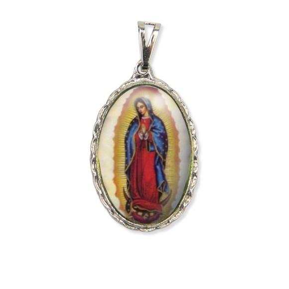 MD128025 - Medalha N. Sra. De Guadalupe Rendada Níquel - 5x2,5cm