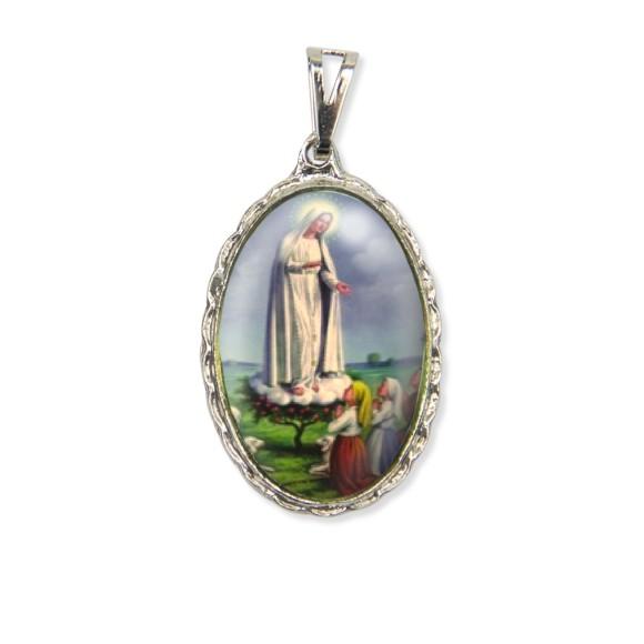 MD128028 - Medalha N. Sra. De Fátima Rendada Níquel - 5x2,5cm