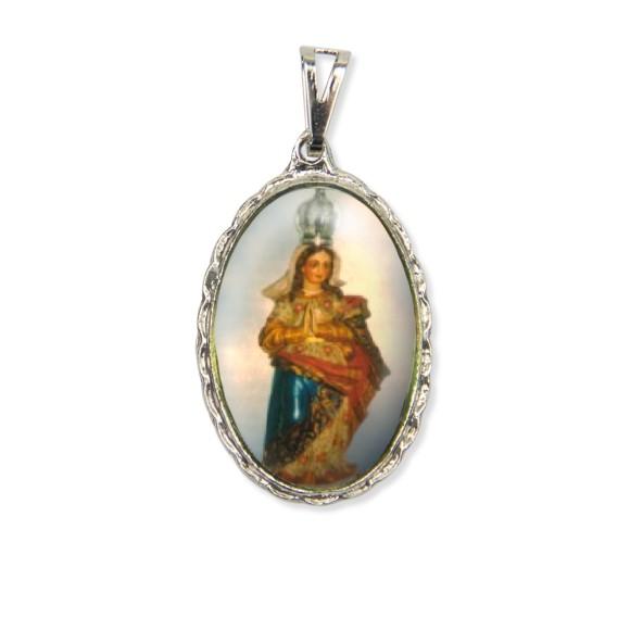 MD128033 - Medalha N. Sra. Do Amparo Rendada Níquel - 5x2,5cm