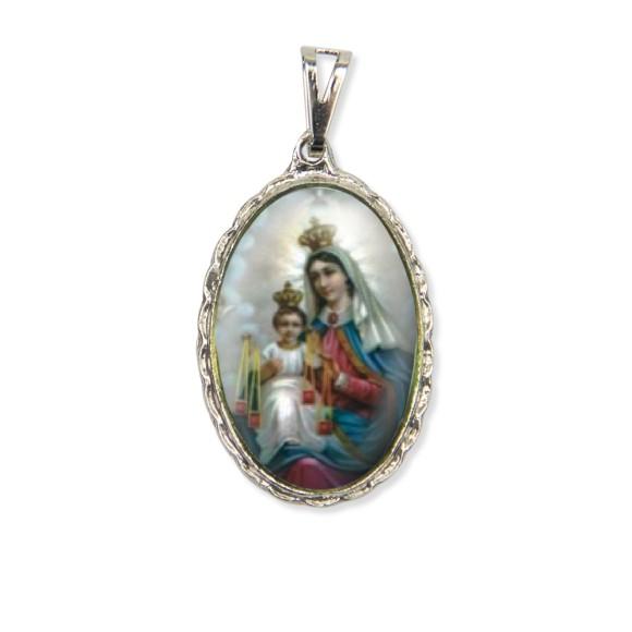 MD128036 - Medalha N. Sra. Do Carmo Rendada Níquel - 5x2,5cm