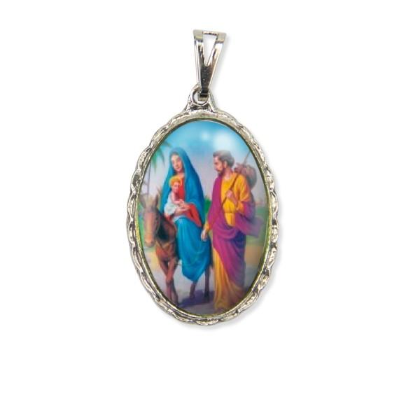 MD128038 - Medalha N. Sra. Do Desterro Rendada Níquel - 5x2,5cm