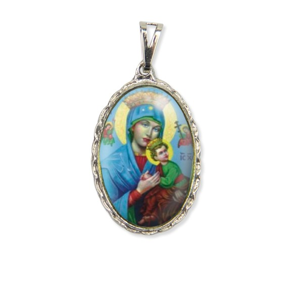 MD128043 - Medalha N. Sra. do Perpétuo Socorro Rendada Níquel - 5x2,5cm